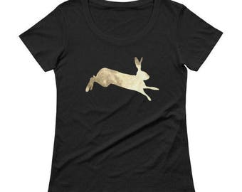 Hare tshirt scoop neck fitted golden moon hare bunny rabbit size xs s m l xl pagan alternative fashion