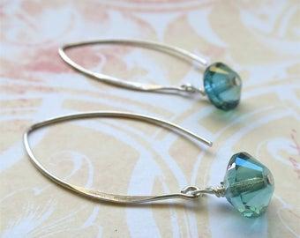 Aqua earrings faceted czech glass beads on long sterling silver earwires