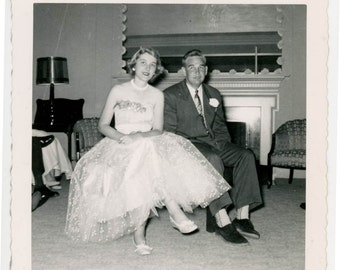 vintage photo 1950 Mid Century Teenage Couple Prom Night Square Snapshot