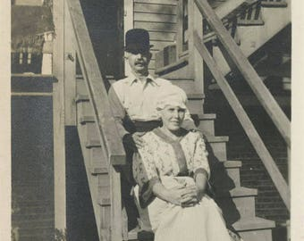 vintage photo 1918 Cute Couple Sits on Stairs He in Boler Hat