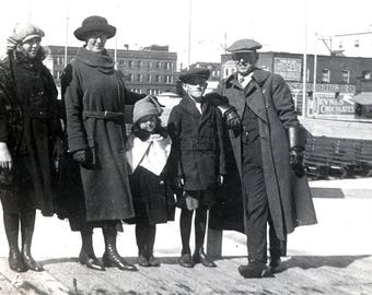 Vintage Photo 1920 Long Beach California Family Poses by the dock of Water