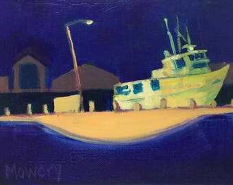 Tiki XIV - framed original 5 x 7 inches acrylic plein air nocturne of a commercial fishing boat under a street light by Barb Mowery