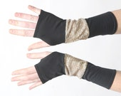 Black and golden arm warmers, Jersey armwarmers, Black and Golden fingerless gloves, Golden glitter wrist warmers, Gift for women