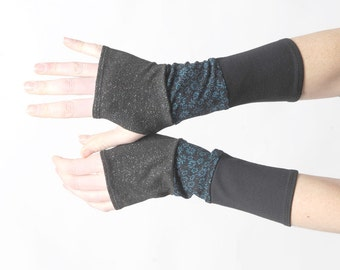 Black and blue arm warmers, Sparkly jersey armwarmers, Black and blue floral fingerless gloves, Black glitter wrist warmers, Gift for women