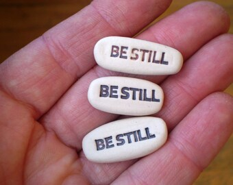 3 Be Still Message Stones, Psalm 46:10, Meditation Mantra, Pocket Word, Bible Study Gift