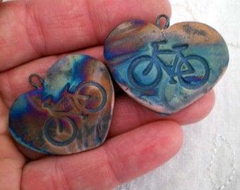 2 Bike Beads, Bicycle Beads, Raku Beads, Heart Beads, Ceramic Heart Beads, Handmade Heart Beads, Pottery Heart Beads,  (2AAT)