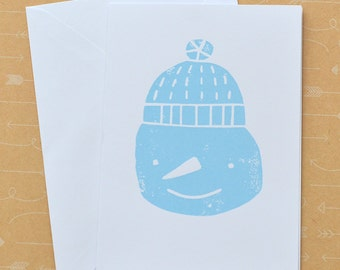 Snowman - Screenprinted Christmas Holiday Card