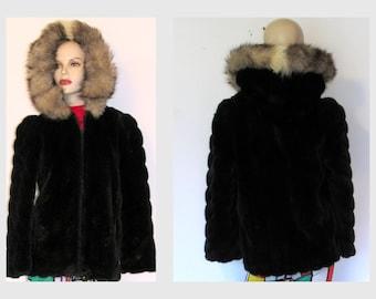 Vintage Sasson Black Faux Fur Coat  Faux Fur Hooded Jacket Winter Coat Sz S/M