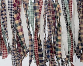 Prim Homespun Fabric Rag Strips Primitive Country Decor Muslin Ties Rustic Farmhouse Wedding