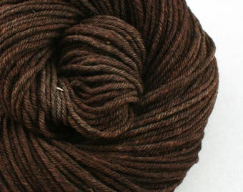 Hand Dyed Aran weight mini Empire Rambouillet Wool 213 yds 4oz Dark Roast