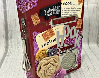 RECIPE COOK BOOK Altered Hardback Junk Journal Smash Book Scrapbook  2 Ring Binder