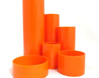 Vintage Orange Pen holder, Mod Tube Desk Organizer, Space Age Plastic Tidy Tubs, Office Storage Desk Caddy