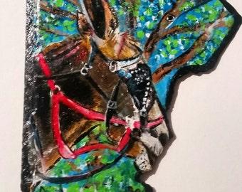 New Orleans Mule on Decatur St original PeaceSwirl painting slate
