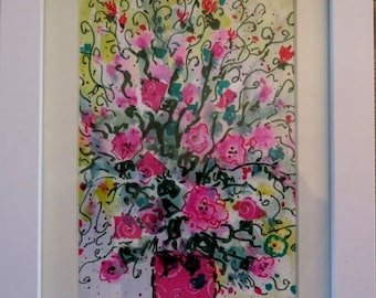Merry Christmas Sale 15% original watercolor painting- pink flowers in vase  -  Vadal