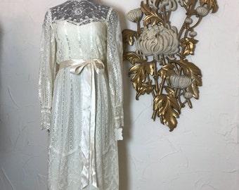Fall sale 1970s dress bohemian dress maxi dress size small wedding dress victorian style ivory dress lace dress boho dress