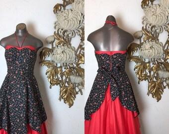 Fall sale 1950s dress cotton dress apron dress size small Miami guild 26 waist vintage dress strapless dress