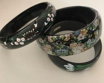 1980s bracelets vintage bracelets plastic bracelets painted bracelets bangle bracelets 1950s bracelets