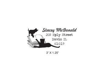Cats Play on Books Custom Return Address Rubber Stamp AD341