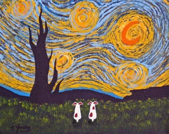 Under a Van Gogh Sky Jack Russell Print by Todd Young