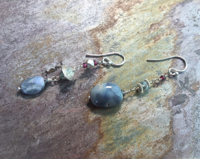 Asymmetrical Boulder Opal, Garnet, and Labradorite Earrings and Thai Silver and Bali Silver Accents