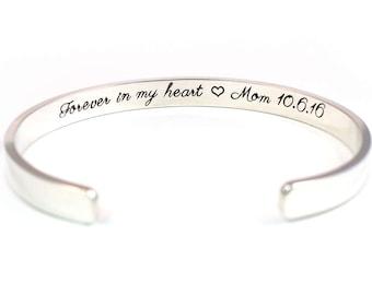 Forever in my Heart Memorial Bracelet, Personalized Sterling Silver Cuff, Hidden Message Bracelet, Memorial Jewelry