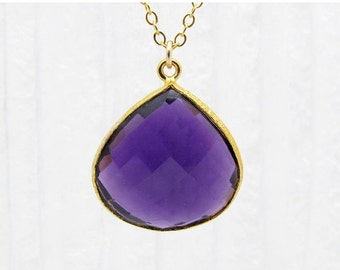 amethyst necklace, amethyst briolette pendant, purple gemstone pendant, February birthstone necklace, gift for her, gold and purple necklace