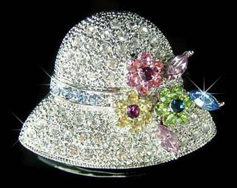 Swarovski Crystal 20's Vintage Style Rainbow Flower Floral Flapper Ladies Womens Party Hat Pin Brooch Jewelry Mothers Day Best Friend Gift