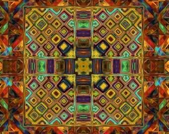 Artist Hand Created 4 Fabric 100% Cotton Sateen Art Square Panels Kaleidoscope Fall Quilting
