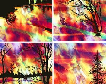 Artist Made Red Sunset Fire Sky 4 Fabric 100% Cotton Sateen Art Prints Landscape Trees Quilting Craft