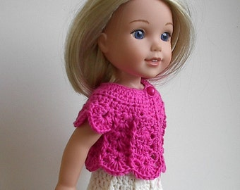 14.5 Inch Doll Clothes Crocheted Sweater Top Handmade to fit the Wellie Wishers and other similar dolls - Bright Pink Sweater