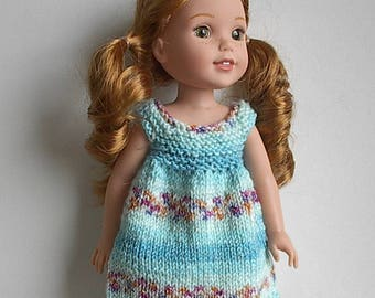 "14.5"" Doll Clothes Knit Dress Handmade to fit Wellie Wishers dolls - Turquoise Blue Jacquard Summer Dress"