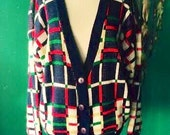 ON SALE.....Vintage unisex geeky chic, boho, cardigan sweater. size S( mens) M womens
