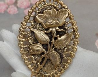 Vintage Brass Rose Pin Large Stamping