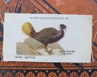 Vintage Fatima Tobacco Silk Bird Manchurian Pheasant