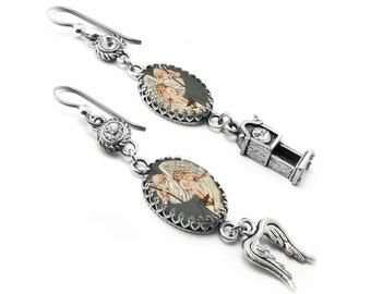 Charm Earrings - Baby New Year - Father Time Jewelry - Time Flies - Drop Earrings