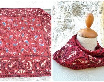 Vintage 1970s/70s  Ethnic boho hippie  Indian silk scarf