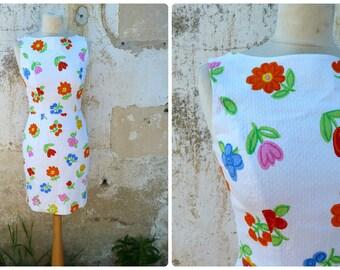 Vintage 1980s garden tea Party floral pique de cotton dress size XS/S