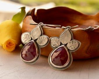 Pink Sapphire Earrings, Botanical Silver Earrings, Statement Earrings, Metalsmithed Earrings, Gemstone Earrings, Handmade Jewelry