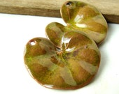 Green Enameled Lily Pad Charms