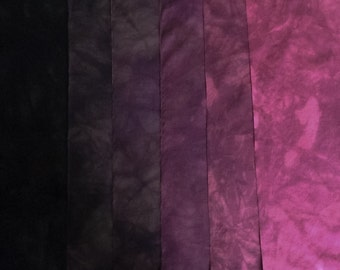 Wine Shades - magenta purple- hand dyed Fabric - 6 pc Fat Quarter Gradation Bundle - 680