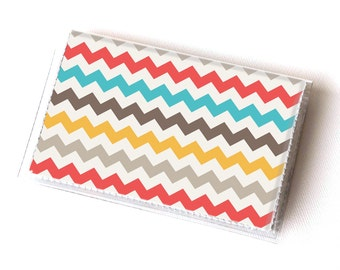 Vinyl Card Holder - Chevron / geometric, happy, colorful, card case, vinyl wallet, women's wallet, small, pretty, handmade, cute, retro