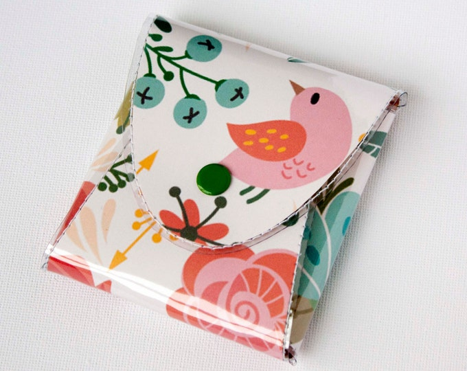 NEW Handmade Vinyl Coin Purse - Amazing/ wallet, vegan, change, snap, small, little, pocket wallet, gift, bird, pink, floral, cute