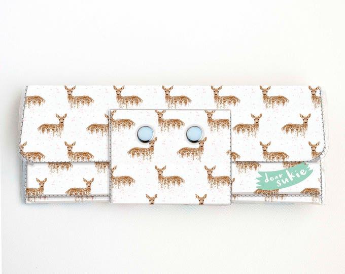 Handmade Vinyl Long Wallet - Deers on White / vegan, large wallet, clutch, zipper, card case, vinyl wallet, snap wallet, deer, woodland