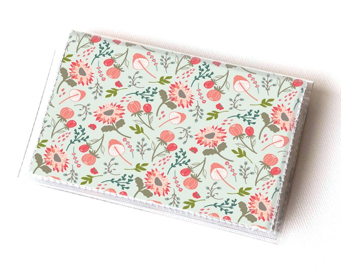 Vinyl Card Holder - Springtime Flora / vegan, floral, flowers, summer, card case, vinyl wallet, women's wallet, small wallet, gift, spring
