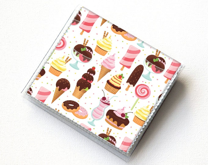 Handmade Vinyl Moo Square Card Holder - Ice Cream and Sweets / case, vinyl, snap, wallet, mini card case, moo case, square, dessert