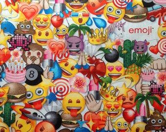 Emoji Party Novelty Liscensed , Emoji's on white, Cotton fabric, 1 Yard