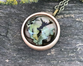 SALE - Lichen, moss and wood necklace, round, handmade, 28mm x 28mm