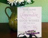 8x10 Lavender and Good Wishes for the New Mr. & Mrs. Lavender Toss Printed Wedding Sign - Purple and Lavender - READY TO SHIP