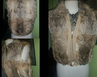 Fun and Chic Two Sided Vintage Rabbit Fur Vest