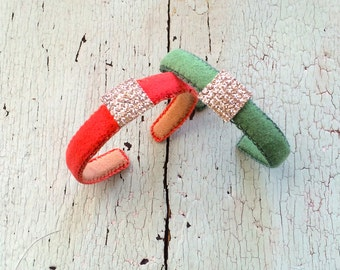 Coral or Spring Green and Rhinestone Adjustable Narrow Cuffs